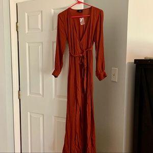 VICI long sleeved wrap maxi dress
